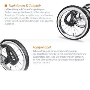 Die großen Räder des Kinderwagens