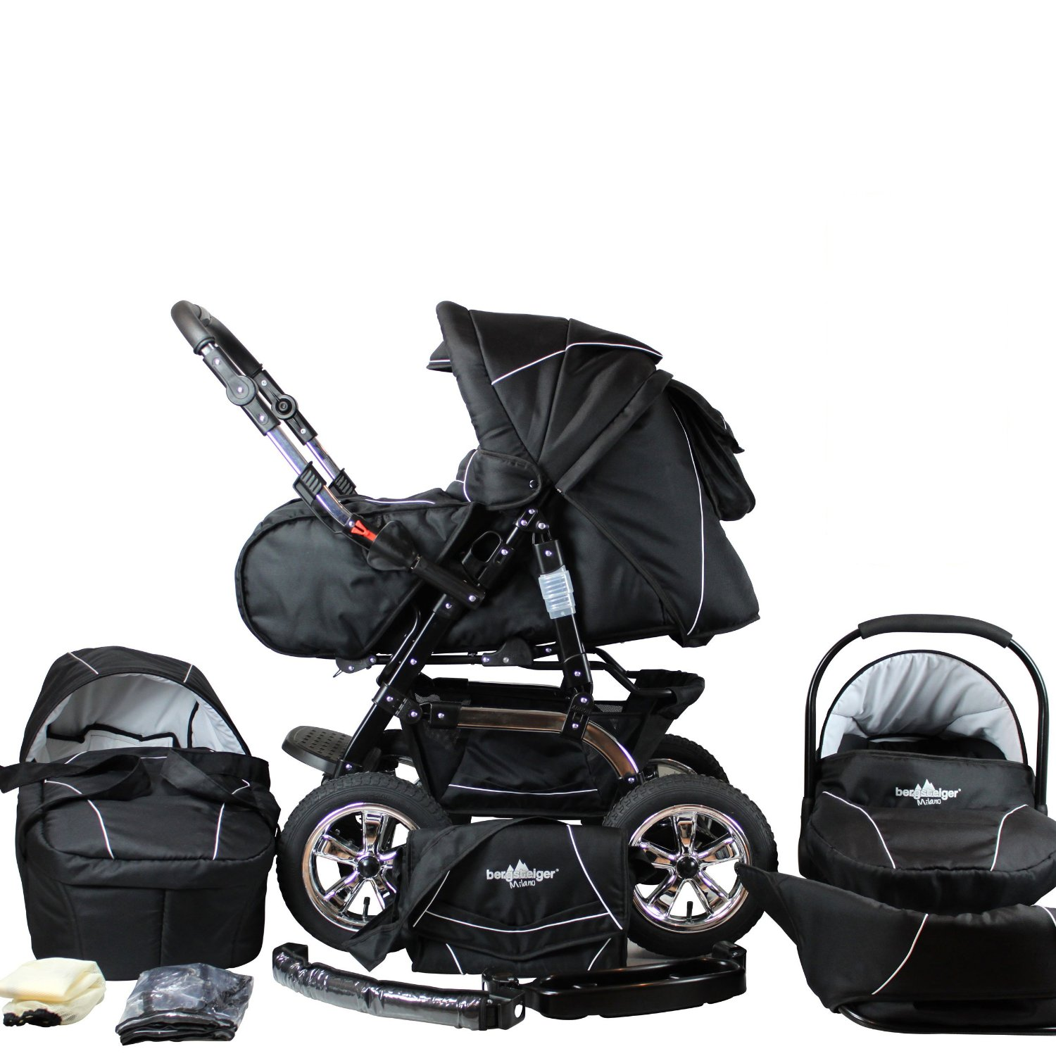 kinderwagen mit vier gleich gro en r dern vergleich milano. Black Bedroom Furniture Sets. Home Design Ideas