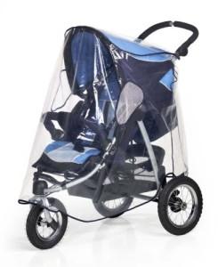 Regenschutz nahezu jeden Kinderwagen, also auch größere Modelle abdeckt